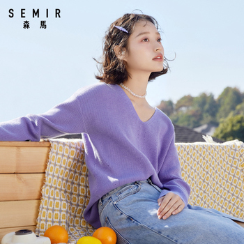 SEMIR Women warm sweater 2020 new V-neck casual fashion bottoming shirt loose simple solid color woman