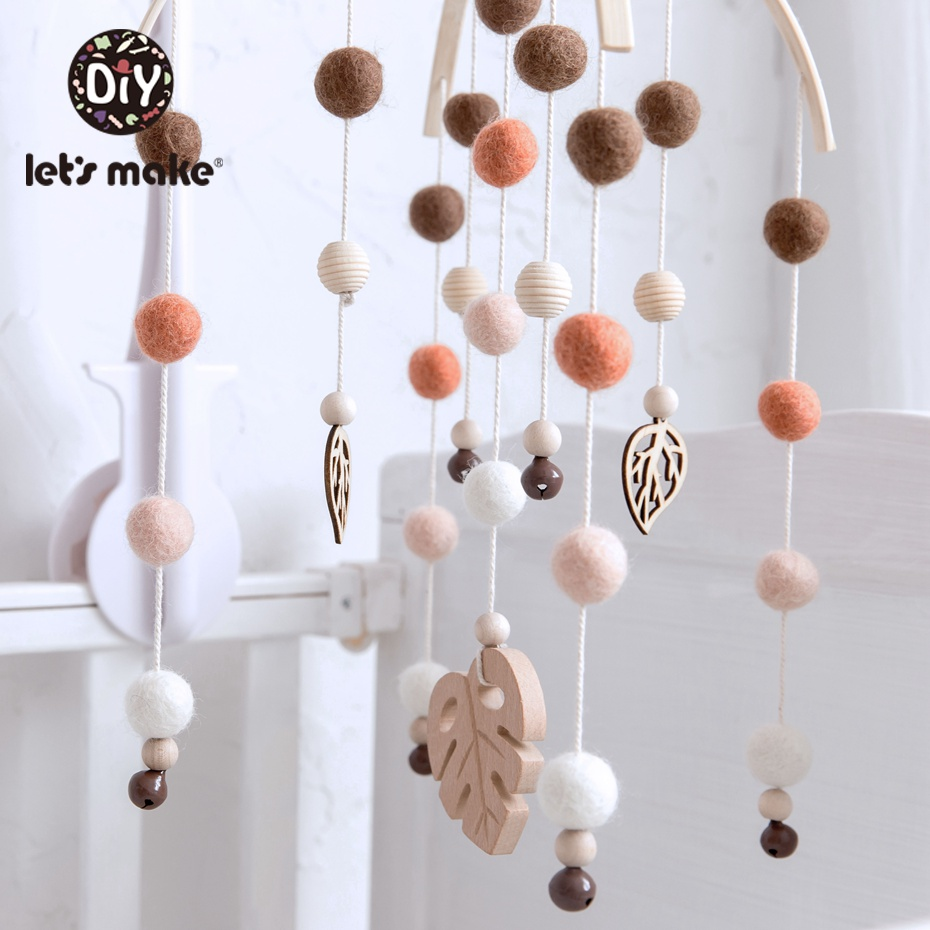 Let'S Make Baby Mobile Felt Balls Pom Pom Wind Chimes Bell Toys For Kids Wool Soother Crib Hanging Rattle Nursery Decor Baby Toy