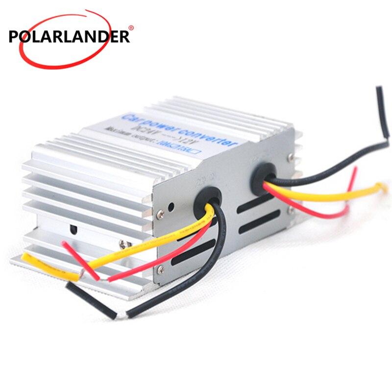 Car Inverter Portable Power Converter Aluminum Alloy Shell Buck Power Supply 10A 24 V To 12 V 180W Converter Car Transformer