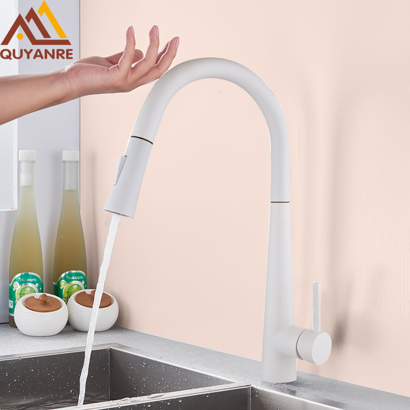 Quyanre White Black Touch Control Sensor Kitchen Faucets Singe Handle 360 Rotation Mixer Tap Smart Sensor Kitchen Mixer Faucet