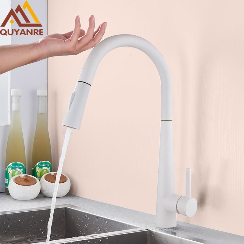 Quyanre White Black Touch Control Sensor Kitchen Faucets Singe Handle 360 Rotation Mixer Tap Smart Sensor Kitchen Mixer Faucet