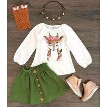 Emmaaby/2 предмета; одежда для маленьких девочек; топы с рождественским оленем+ юбки; осенняя одежда; комплект одежды