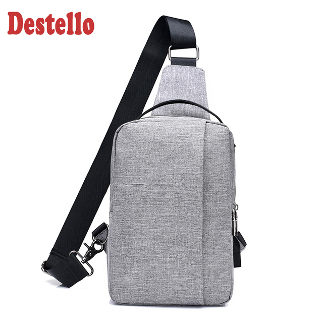 Fashion casual anti theft chest bag nylon waterproof men shoulder Bag with usb charge port wowen money single trap chest bag