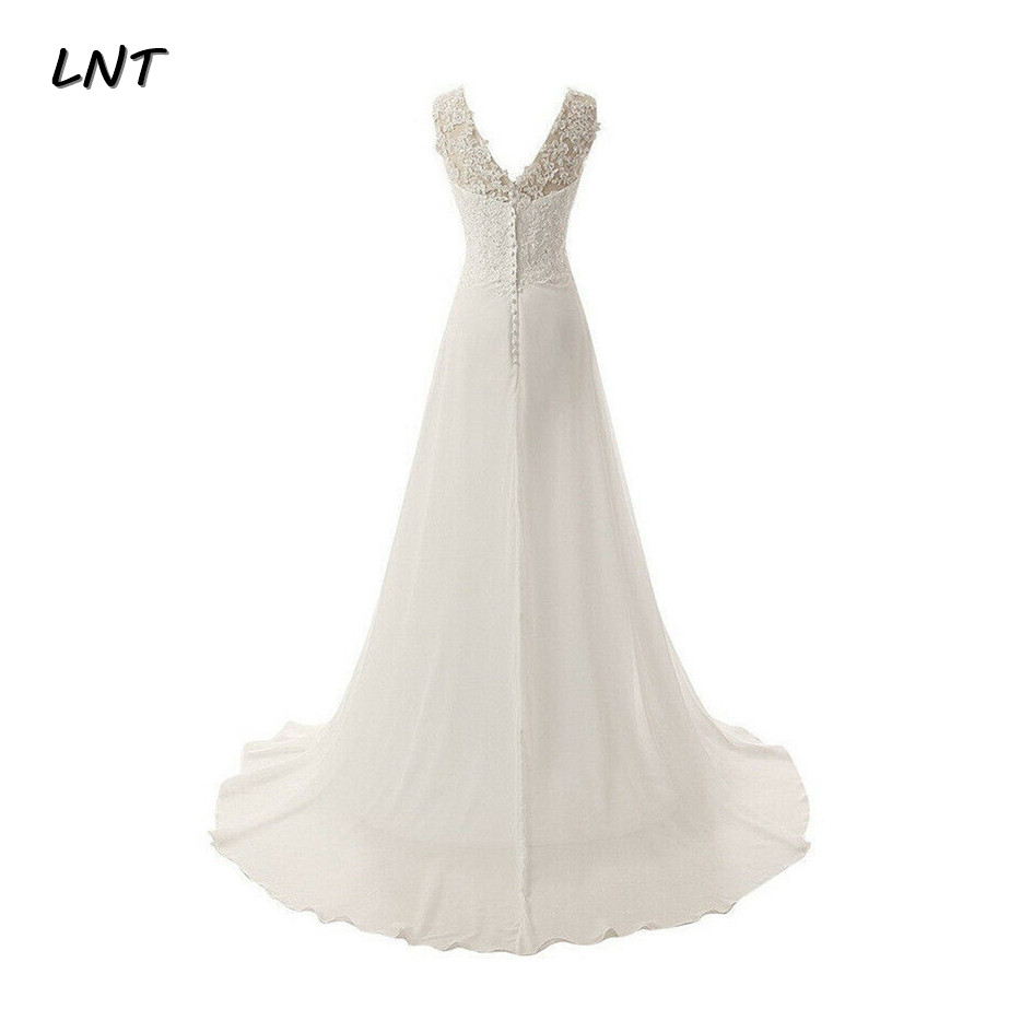 Flowy V Neck Long Chiffon Beach Wedding Dresses Brides Country Bridal Gowns Plus Size
