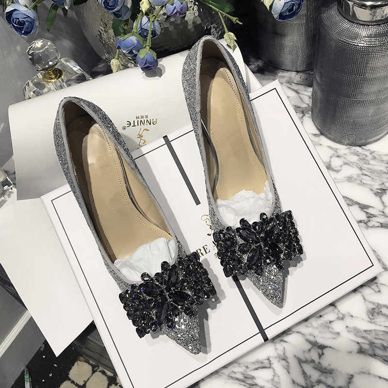 Crystal Pumps Mujer Bling tacones altos Zapatos Mujer Slip On Bow Buty Damskie boda fiesta señoras Zapatos Fashinon Zapatos De Mujer