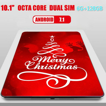 Fashion 10.1 Inch 6G+128GB Octa Core 4G Network WiFi Tablet PC Android 7.1 Arge 1280*800 IPS Screen Dual SIM Dual Camera