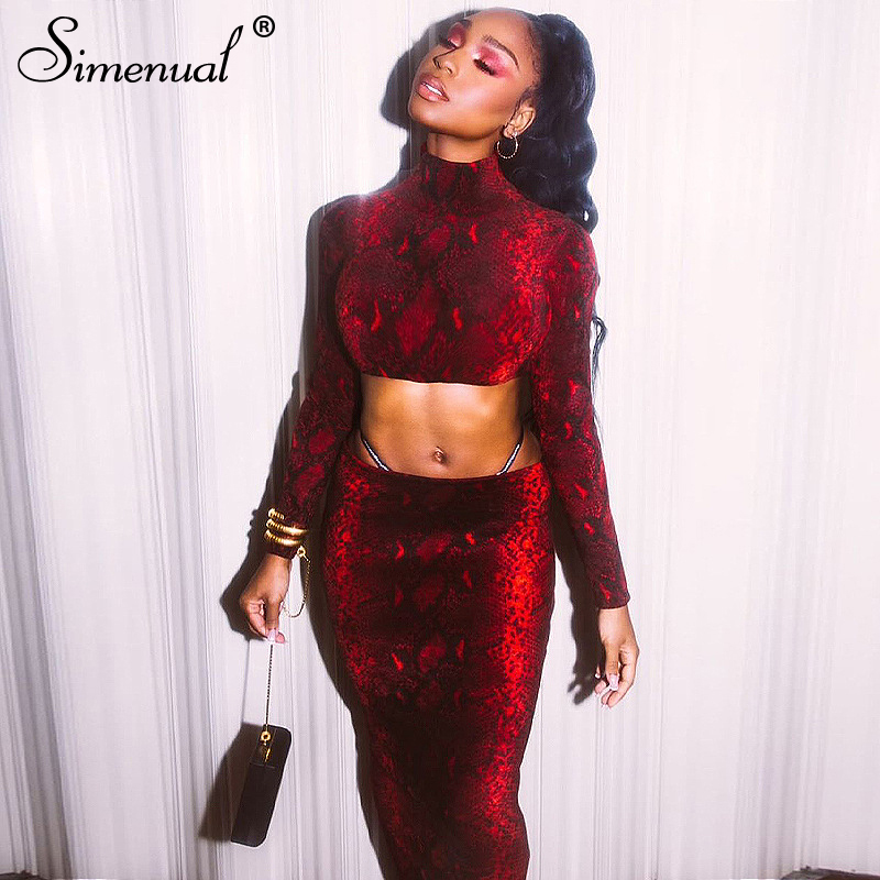 Simenual Snake Print Fashion 2019 Women Two Piece Set Skinny Party Clubwear Outfits Long Sleeve Crop Top And Skirt Sets Autumn