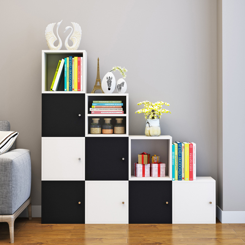 Floor Wood Small Cabinet Free Combination Cabinet Plaid CHILDREN'S Bookcase Simplicity Small Bookcase With Door Storage Cabinets