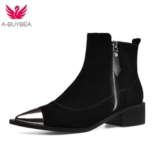 Fashion Shoes 2019 Women Shoes Ankle Boots for Women Cow Suede Pointed Toe Square Heel Western Platform Boots Australian Boots стоимость