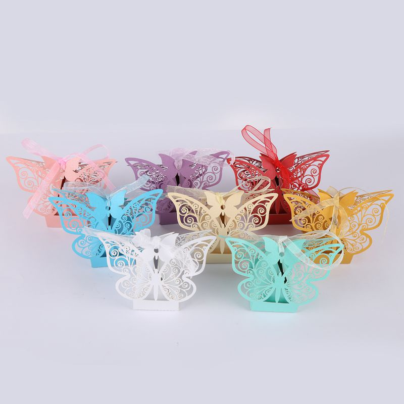 10pcs Wedding Gift Boxes Bags Hollow Butterfly Candy Box For Baptism Birthday First Communion Christening Party Supplies 2019