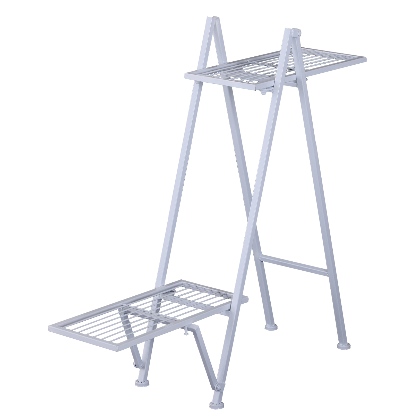 Outsunny Planter Stand Holder 2 Shelves for Home and Garden Plants Metal 86x24x81 cm White|  -