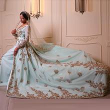 Марокканские Свадебные платья Кафтан со шлейфом с длинным рукавом