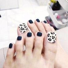 24 шт накладные ногти леопардовые синие блестящие на носках
