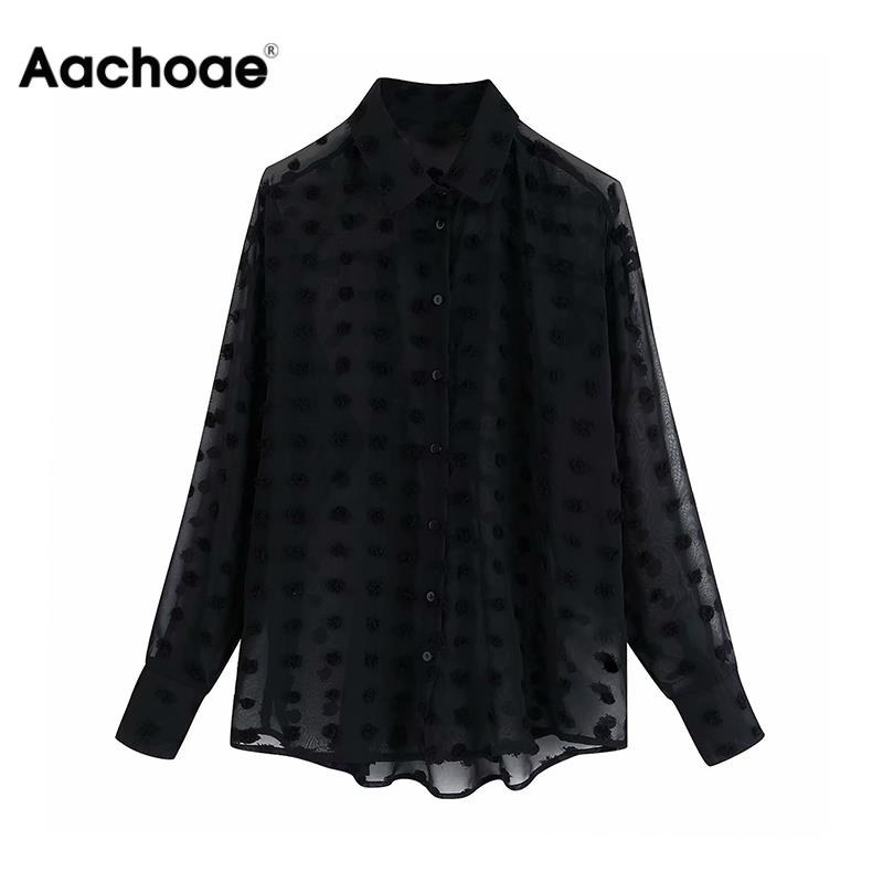 Stylish Polka Dot Embroidery Chiffon Blouse Women Long Sleeve See Through Shirt Fashion Turn Down Collar Black Casual Blouses