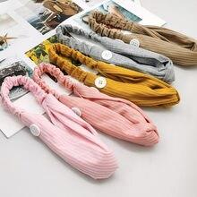 Bandeau à nœud croisé pour femmes, support de masque, couleur unie, bandeau tricoté avec bouton, accessoires pour cheveux