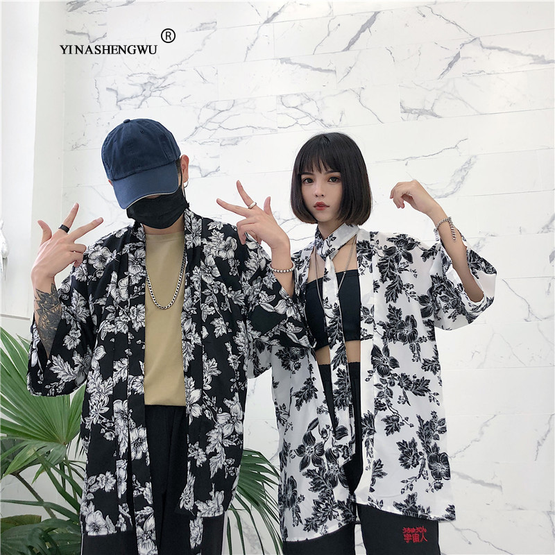 Kimono Cosplay Comtume Japanese Kimono Cardigan Couple Yukata Women Loose Short Sleeve Blouses Male Hawaiian Style Beach Shirts