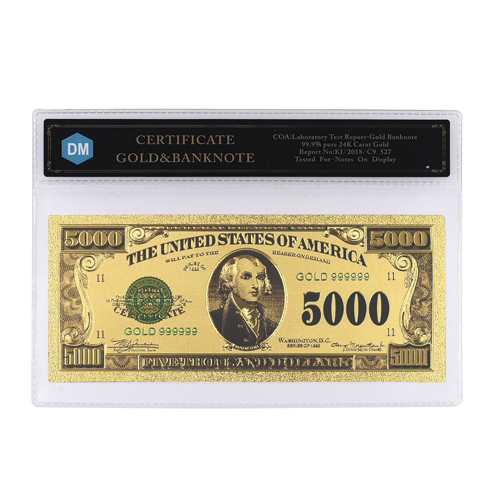 Colored Gold Banknote 50 Pound  Paper Money World Bill Note Collection W// COA