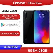 Lenovo Z6 Lite с глобальной прошивкой, 6 ГБ, 128 ГБ, восьмиядерный смартфон Snapdragon 710, тройная камера, экран 6,3 дюйма, Android 9,0