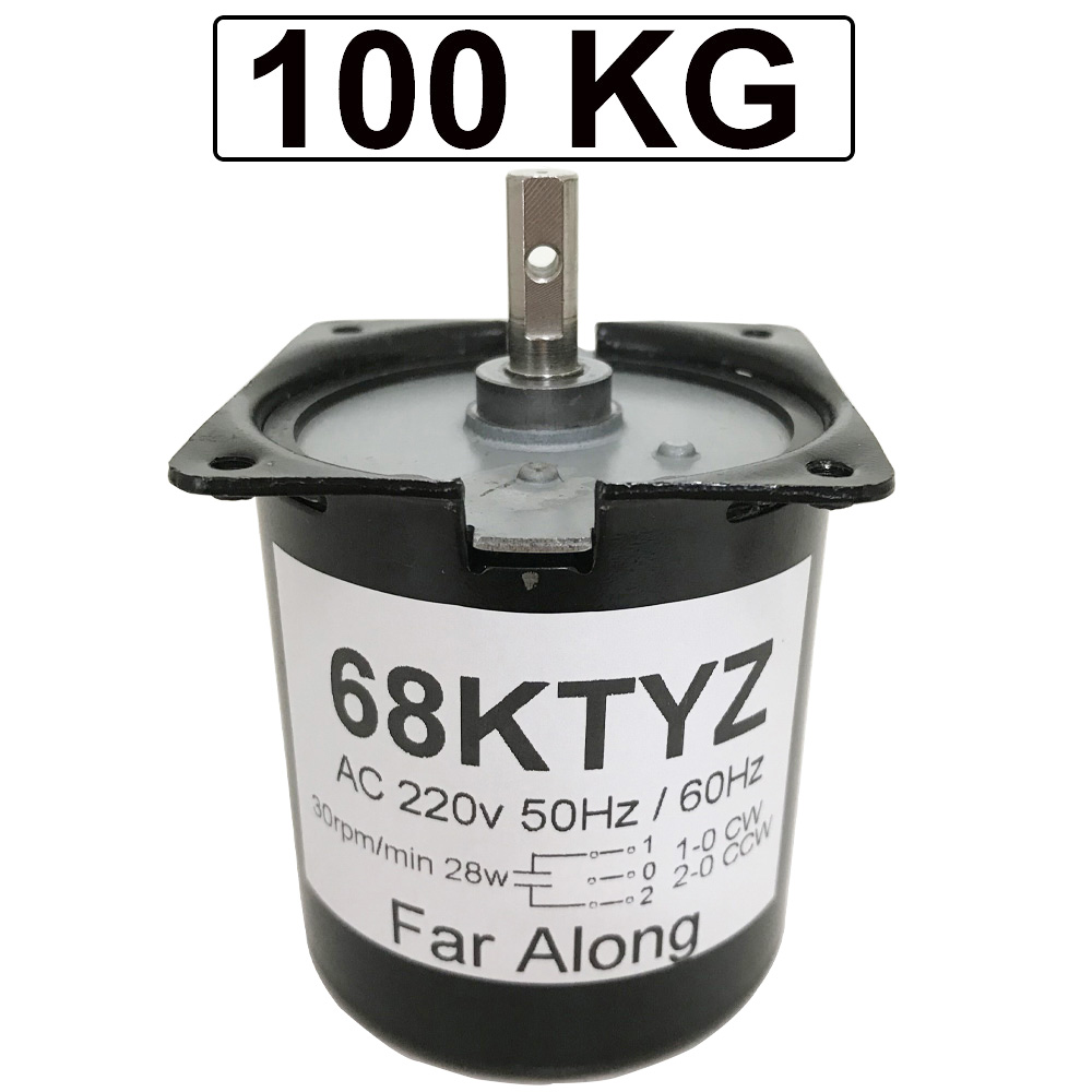 High Torque 100KG 28W AC 220V Permanent Magnet Synchronous Motor 220V <font><b>68KTYZ</b></font> CW/CCW Metal Geared Slow Speed Motor 2.5 To 110RPM image
