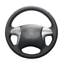 For Toyota Fortuner Car hand-sewn steering wheel cover black artificial leather for chrysler 300c 200 car steering wheel cover black artificial leather antiskid