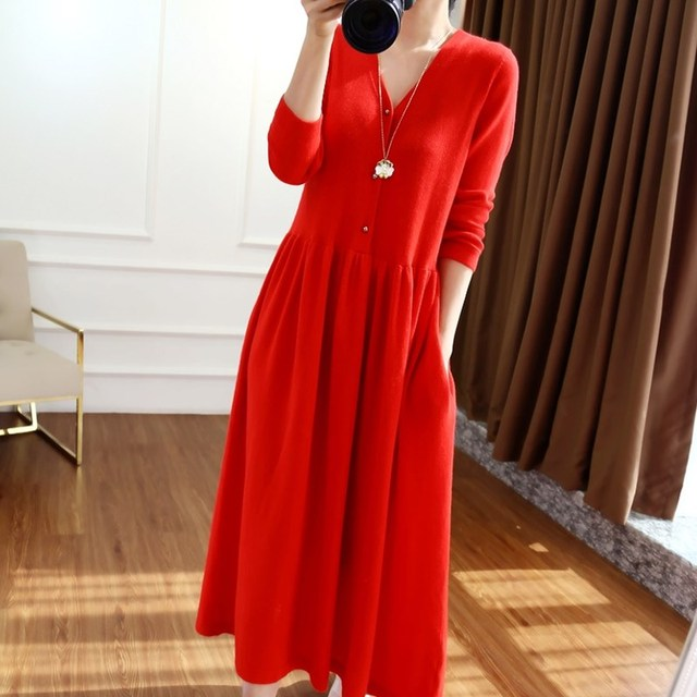BELIARST 2019 autumn and winter new V neck cashmere dress female temperament long paragraph over the knee big dress long