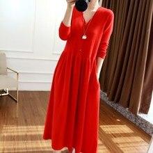 Beliarst 2019 outono e inverno novo vestido de caxemira com decote em v feminino temperamento longo parágrafo sobre o joelho vestido grande saia longa