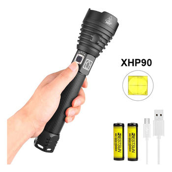 Powerful Flashlights Rechargeable XHP90 LED Super Bright Zoomable High Lumen Tactical Waterproof USB Outdoor for Camping