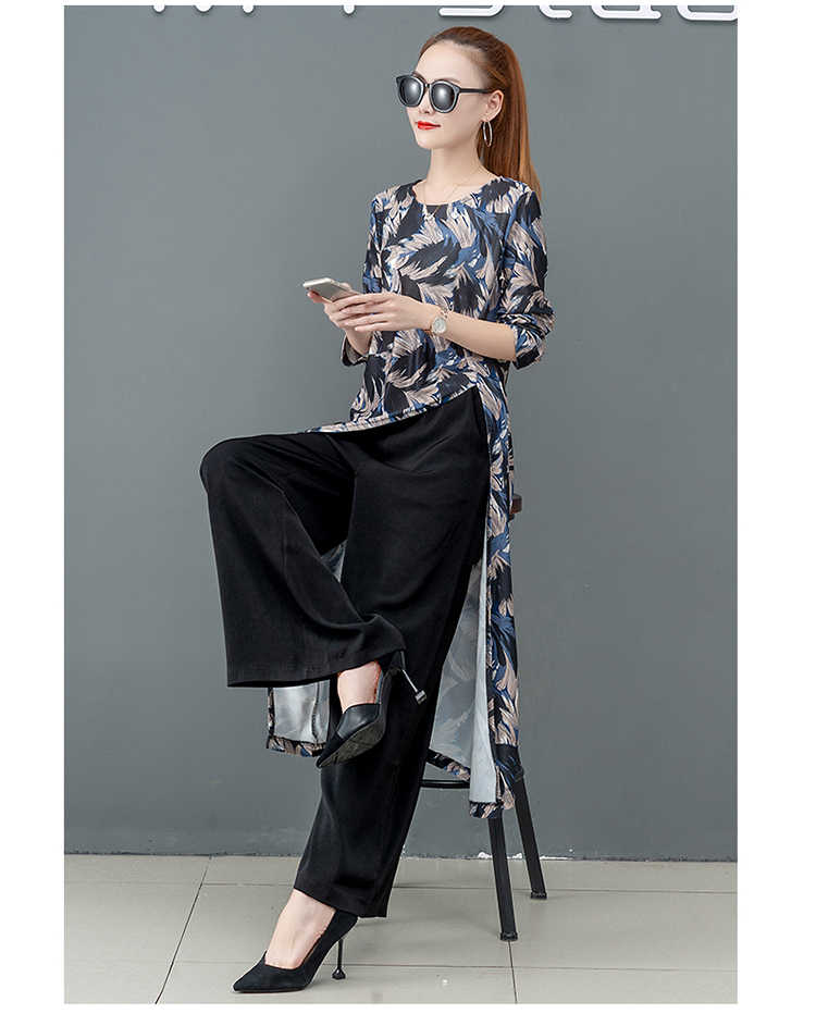 Printed Two Piece Sets Outfits Women Plus Size Splicing Long Tops And Wide Leg Pants Suits Elegant Office Fashion Korean Sets 55