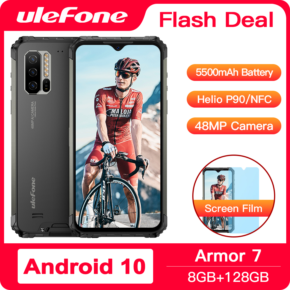 Ulefone Armor <font><b>7</b></font> Android 10 Rugged Phone Waterproof Smartphone NFC Helio P90 5G WIFI 6.<font><b>3</b></font>'' 8GB+128GB 48MP 5500mAh Mobile Phone image