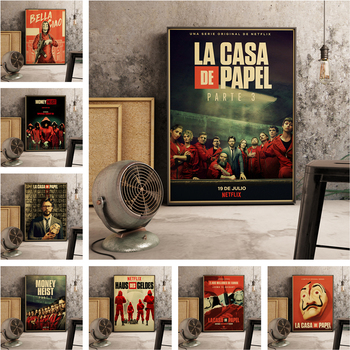 Spanish suspense movie La casa de papel retro style Canvas poster banknote house wall art Room Home decoration posters a741 image