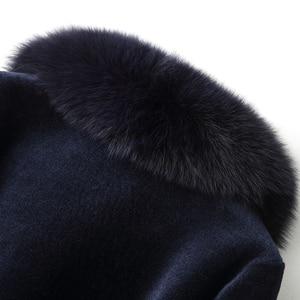 Image 5 - AYUNSUE Real Fur Coat Female Sheep Shearling Winter Jacket Women Fox Fur Collar 100% Wool Coat Long Jackets Plus Size XESD1811