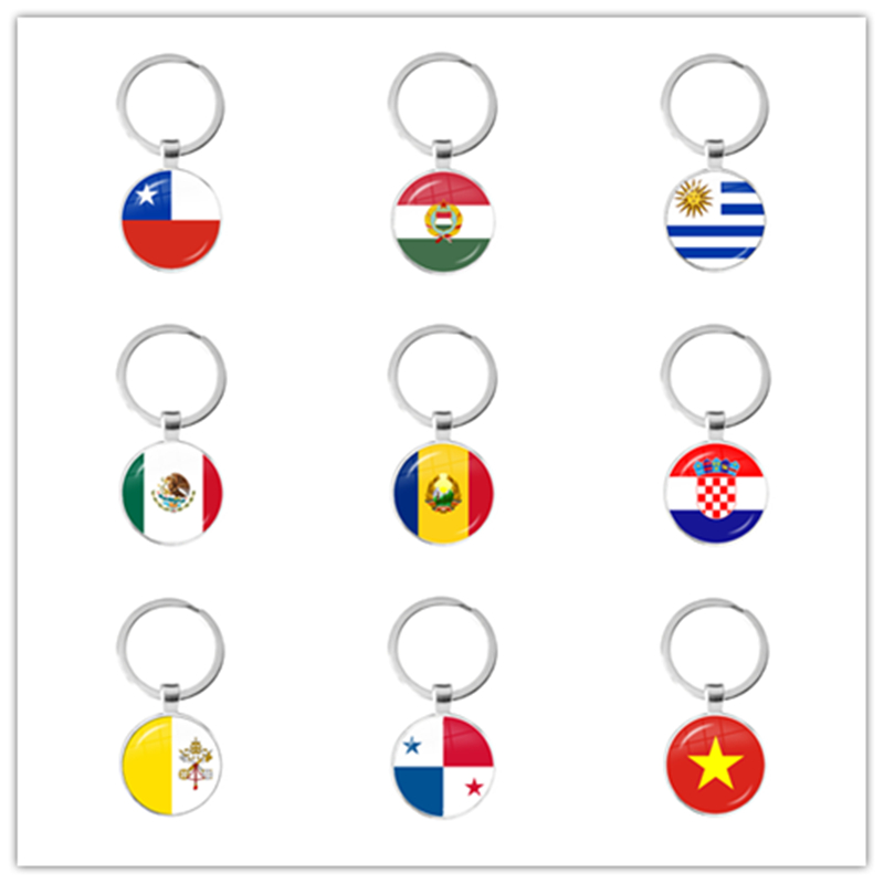 Chile Hungary Uruguay Mexico Romania Croatia Vatican Panama Vietnam 25mm Glass Cabochon National Flag Keychain Keyholder Gift
