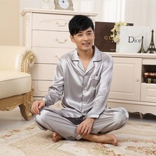2020 New Autumn Sleepwear Male Pajama SetBig Size M-3XL Satin Silk Pajamas Long Men