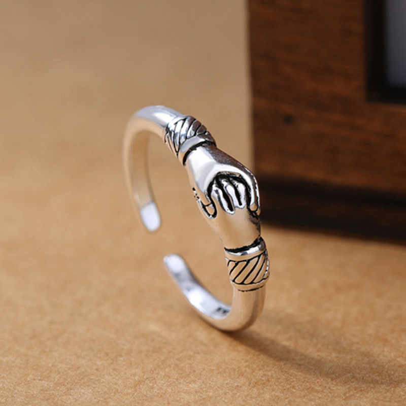 2019 New Retro Women 925 Sterling Silver Jewelry Ring Opening Handshake Creative Friendship Ring Fine Jewelry