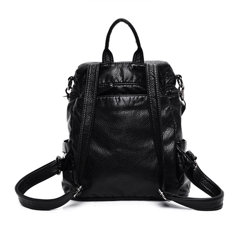 Female Backpack Casual Cute Backpacks Famous Brand Pu Zipper Solid Pink Casual School Bags For Teenagers Mochila Schoolbag in Backpacks from Luggage Bags