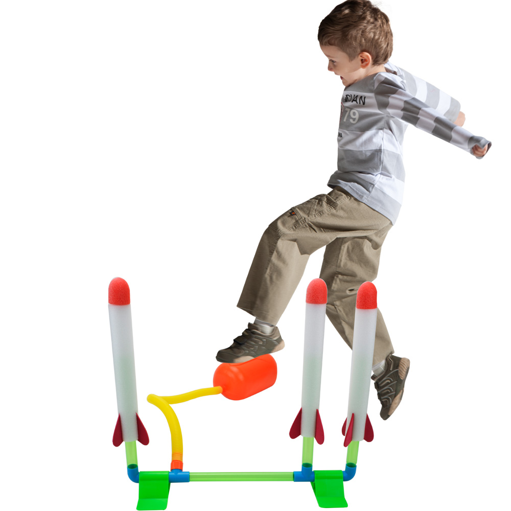 Air Stomp Rocket Blaster Set Includes Pump, Launch Pad And1 Or 4 Foam Rockets Fly Up To 80ft   Summer Outdoor Flying Toy