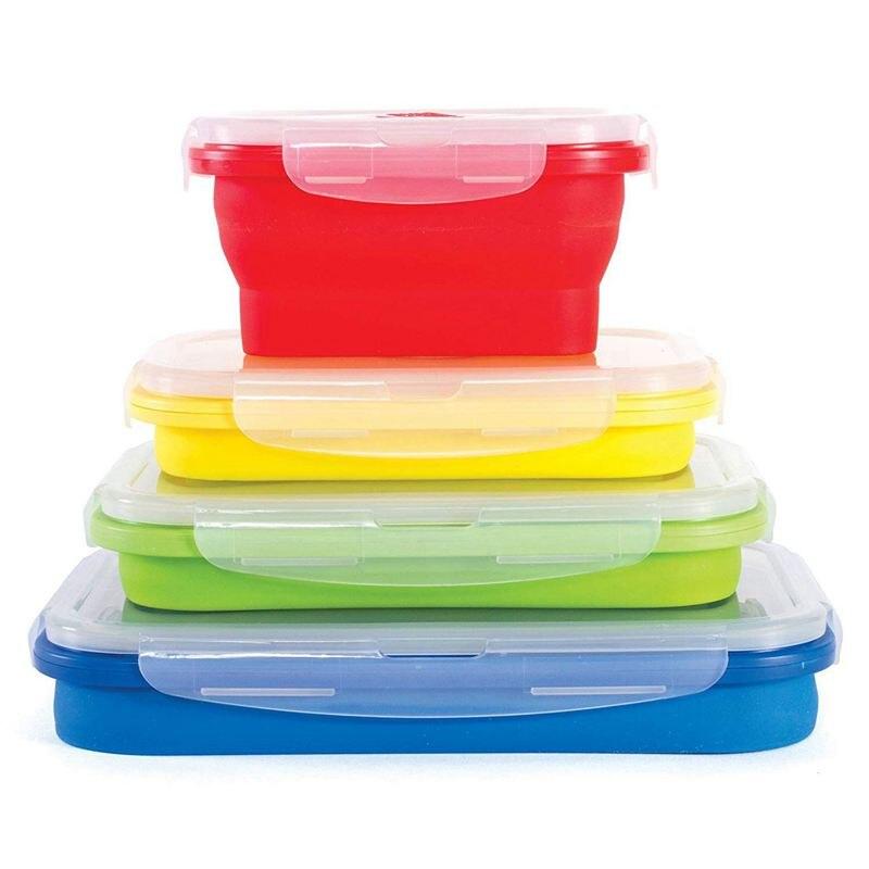 juego de 4 contenedores de almacenamiento de alimentos de silicona Contenedores de almacenamiento de alimentos plegables de silicona con tapas herm/éticas para acampar