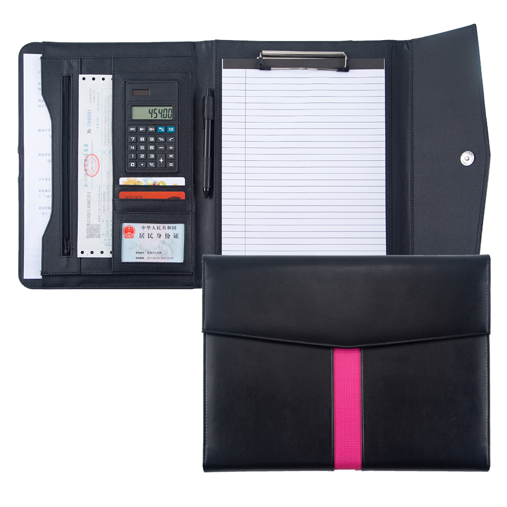 A4 Tri-fold Document File Folder Padfolio Briefcase With Calculator Zipper PU Leather Office Leather Portfolio