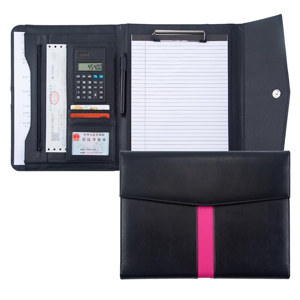 A4 Tri-fold Document File Folder Padfolio Briefcase With Calculator Zipper PU Leather Office Leather Portfolio