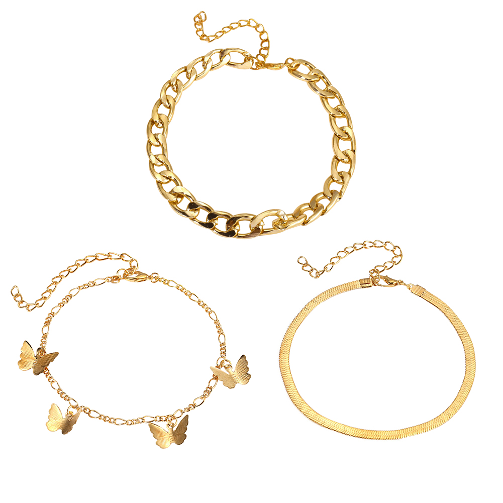 3pcs Vintage Boho Women Butterfly Pendant anklets for women New Beach Holiday Charming Foot Chain Jewelry Gifts браслет на ногу