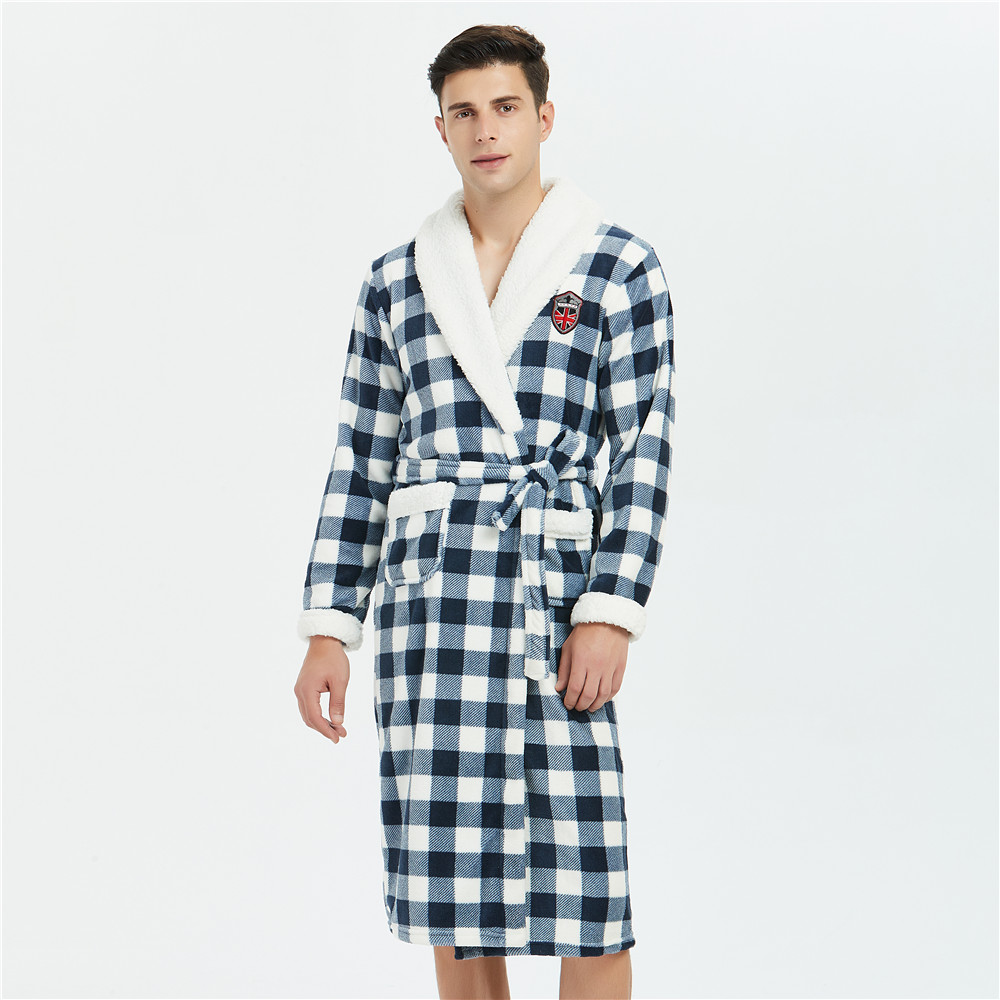 Thicken Plaid Nightgown Men Full Sleeve Coral Fleece Kimono Robe Gown Winter New Padded Sleepwear Casual Lounge Loose Bathrobe