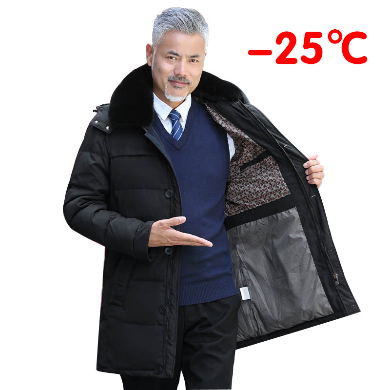 2020 novo inverno da idade média dos homens casual quente com capuz para baixo casacos de luxo alta qualidade gola de pele do falso grosso longo para baixo jaqueta