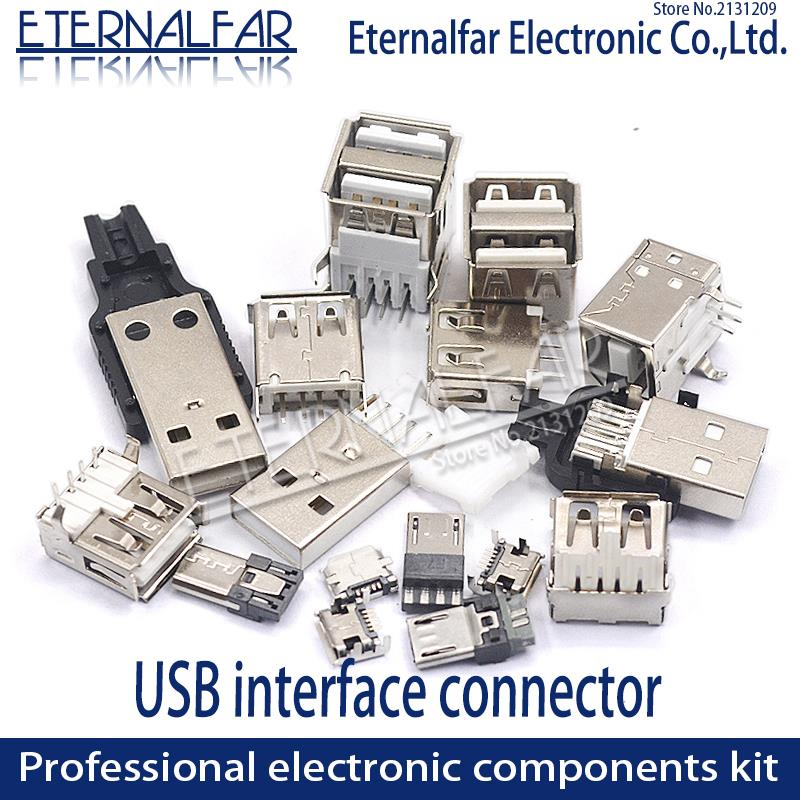 USB 2.0 Interface Female Male Square Mouth MICRO Connector Socket Type A B Patch Straight Bend Straight Needle Welding Wire DIY