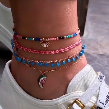 Conjunto de tobilleras con colgantes de sandía de ojo con cuentas coloridas de moda Tocona para mujer de múltiples capas de cuerda trenzada Tobillera 8369