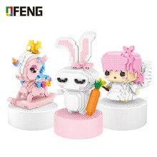 цены LOZ Mini assembled building blocks Angel Rabbit Unicron Figure Brick Animal  Toys for Children Gifts Educational Toy
