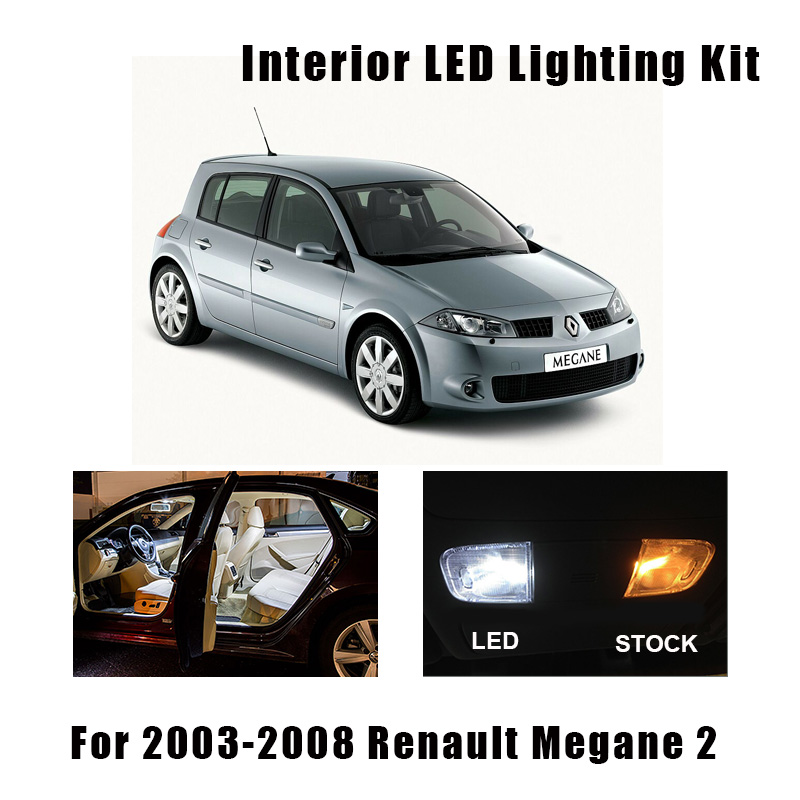 10pcs Canbus Error Free <font><b>LED</b></font> Bulbs Reading Dome Trunk Light Interior Kit For 2003-2008 <font><b>Renault</b></font> <font><b>Megane</b></font> II <font><b>2</b></font> MK2 License Plate <font><b>Lamp</b></font> image