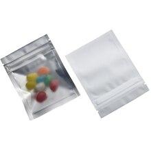 7.5x10cm White Frosted Aluminum Foil Clear Front Plastic Ziplock Bags 100pcs/lot Food Packaging Bag Reclosable Zipper Storage