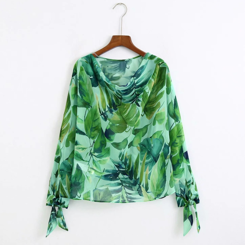 2020 Women Fresh Green Leaves Print Casual Loose Smock Blouse Ladies Bow Tied Long Sleeve Shirts Chic Leisure Blusas Tops LS6628