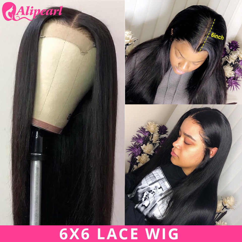 AliPearl Hair 6x6 Lace Closure Wig Human Hair Wigs PrePlucked Brazilian Straight Lace Wig 130 150 180 Density Remy Natural Color