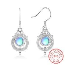 Vintage 925 Sterling Silver Moonstone Earrings for Women Ethnic Bohemia Dangle Drop Earrings Fine Jewelry Statement Party Gift недорого